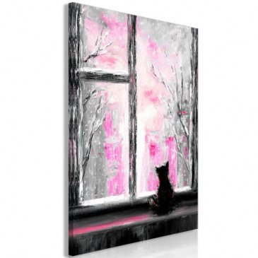 Tableau Longing Kitty 1 Pièce Vertical Pink  | cosy-home-design.fr