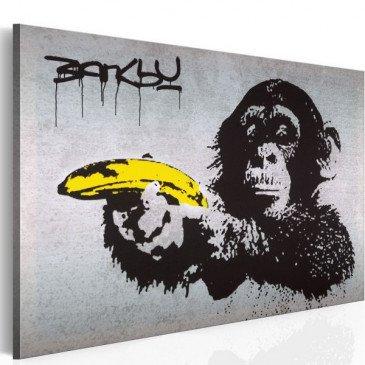 Tableau Arrête ou le singe va tirer! Banksy  | cosy-home-design.fr