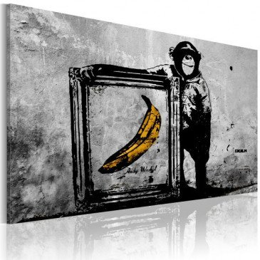 Tableau Inspired by Banksy - black and white    cosy-home-design.fr
