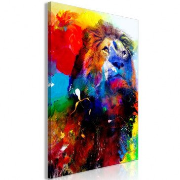 Tableau Lion and Watercolours 1 Pièce Vertical  | cosy-home-design.fr