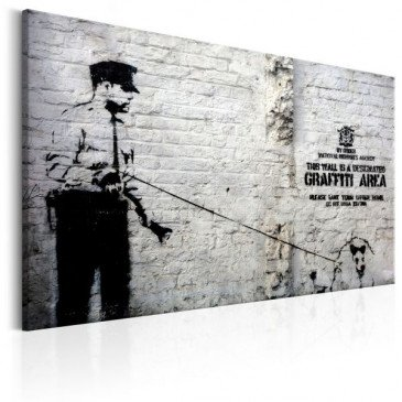 Tableau Graffiti Area Police and a Dog by Banksy    cosy-home-design.fr