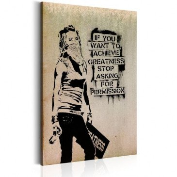 Tableau Graffiti Slogan by Banksy    cosy-home-design.fr