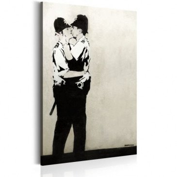 Tableau Kissing Coppers by Banksy    cosy-home-design.fr