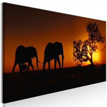 Tableau Elephant Family Orange  | cosy-home-design.fr