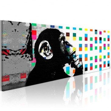Tableau Banksy The Thinker Monkey wide  | cosy-home-design.fr