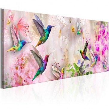 Tableau Colourful Hummingbirds 1 Pièce Narrow  | cosy-home-design.fr