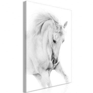 Tableau White Horse 1 Pièce Vertical  | cosy-home-design.fr