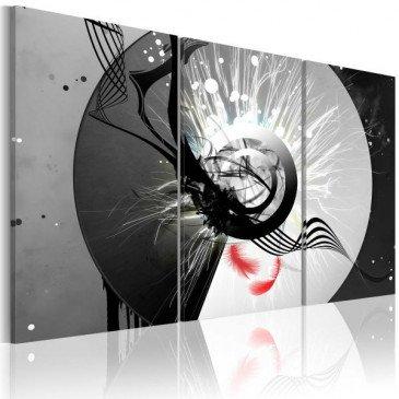 Tableau Cercle métallique et plumes rouges  | cosy-home-design.fr