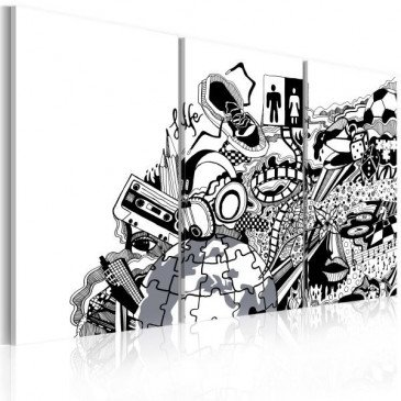 Tableau Artistic mess - triptych  | cosy-home-design.fr