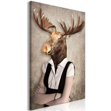 Tableau Brainy Moose (1 Part) Vertical  | cosy-home-design.fr
