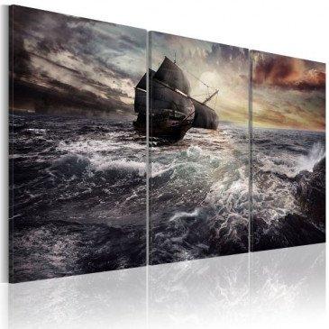 Tableau Bateau seul en mer  | cosy-home-design.fr