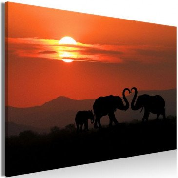 Tableau Elephants in Love (1 Part) Wide  | cosy-home-design.fr