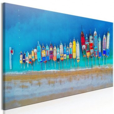 Tableau Colourful Boats (1 Part) Narrow  | cosy-home-design.fr