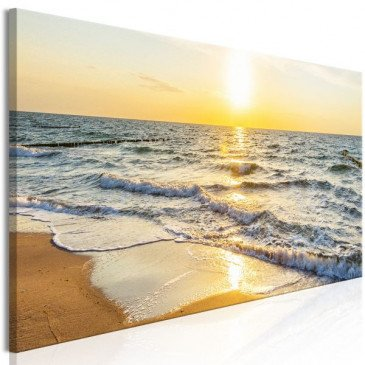 Tableau Calm Waves (1 Part) Narrow Golden  | cosy-home-design.fr