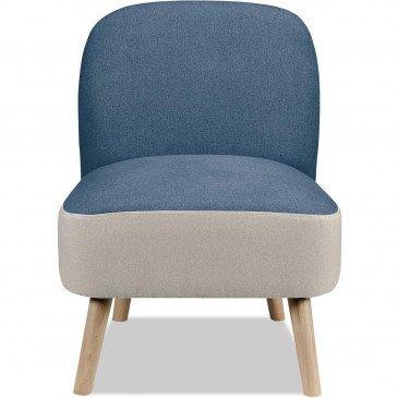 Fauteuil Bois et polyester Bleu et Blanc Dopio    cosy-home-design.fr