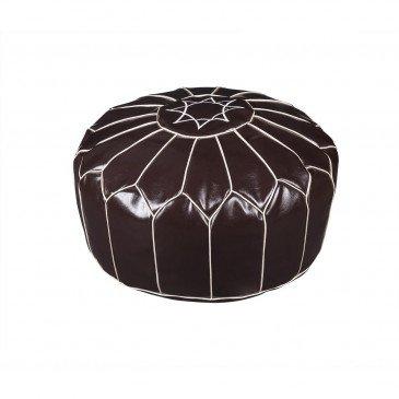 Pouf Cuir PU et Cuir PU Chocolat Fesa  | cosy-home-design.fr