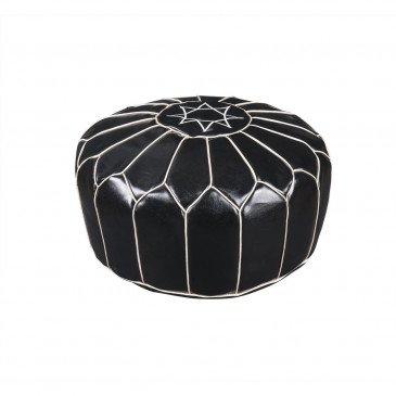 Pouf Cuir PU et Cuir PU Noir Fesa  | cosy-home-design.fr