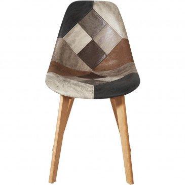 Chaise Métal et Rotin Patchwork Gris et Marron Patchwork - Lot de 2  | cosy-home-design.fr