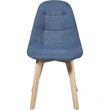Chaise Bois et Tissu Bleu Canard Saba - Lot de 4  | cosy-home-design.fr