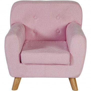 Fauteuil Enfant Bois et Tissu Avec Boutons Rose Nolby    cosy-home-design.fr
