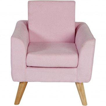 Fauteuil Enfant Bois et Tissu Rose Jimi    cosy-home-design.fr