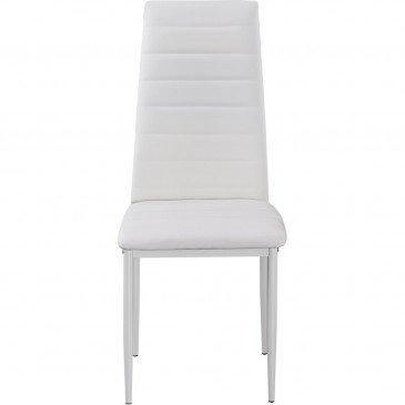 Chaise Métal et Cuir PU Blanc Nosa - Lot de 6  | cosy-home-design.fr