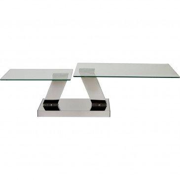 Table Basse Double Plateau Métal Chrome et Verre Queenstown  | cosy-home-design.fr