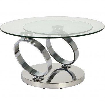 Table Basse Double Plateau Métal Chrome et Verre Wellington  | cosy-home-design.fr
