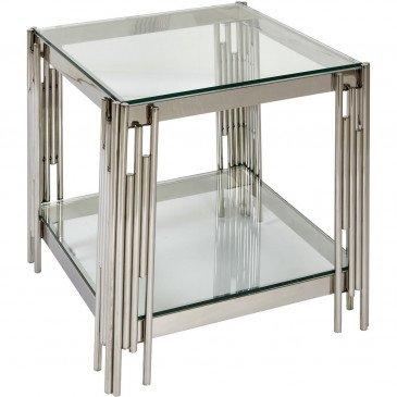 Table d'Appoint Métal Chrome et Verre Darwin  | cosy-home-design.fr