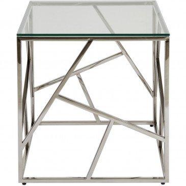 Table d'Appoint Métal Chrome et Verre Island  | cosy-home-design.fr