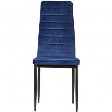 Chaise Métal et Velours Bleu Vilmaur - Lot de 4  | cosy-home-design.fr