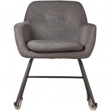 Rocking Chair Métal et Lin Gris Foncé Rocky  | cosy-home-design.fr