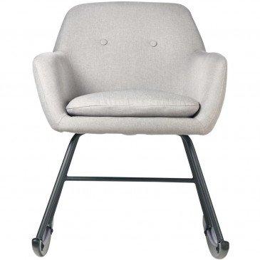 Rocking Chair Métal et Lin Gris Clair Rocky  | cosy-home-design.fr