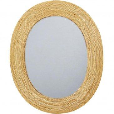 Deco Miroir Ovale Rotin Beige Baden  | cosy-home-design.fr