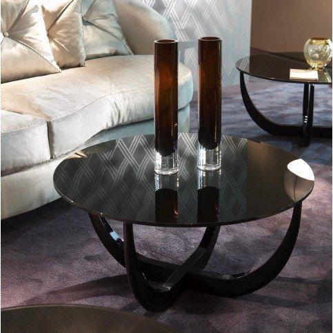 Table basse noire verre et bois laqué Stevenson  | www.cosy-home-design.fr