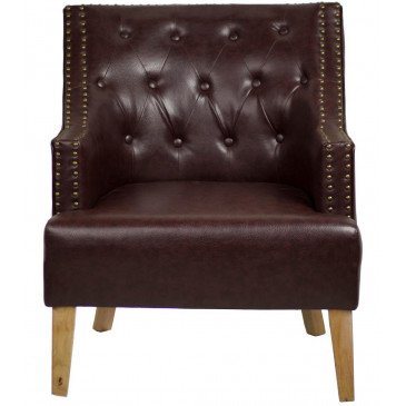 Fauteuil marron cuir Junon  | www.cosy-home-design.fr