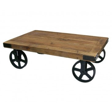 Table basse industrielle roulettes Brooklyn | www.cosy-home-design.fr