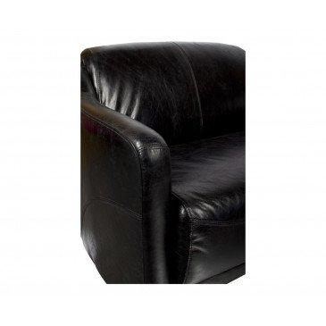 Canapé noir en cuir 2 places Milord | www.cosy-home-design.fr