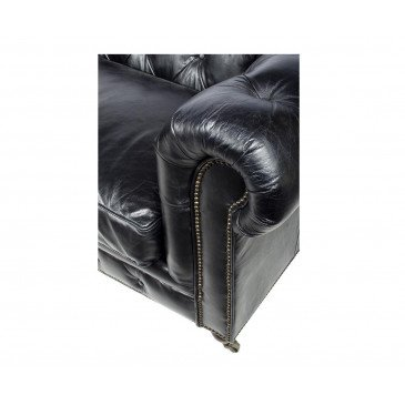 Canapé Noir en cuir 3 places Chesterfield Chicago | www.cosy-home-design.fr
