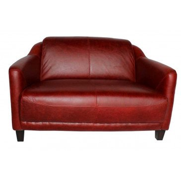 Canapé rouge en cuir 2 places Milord | www.cosy-home-design.fr