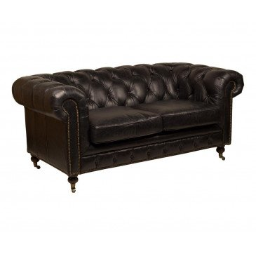 Canapé Noir en cuir 2 places Chesterfield Chicago | www.cosy-home-design.fr
