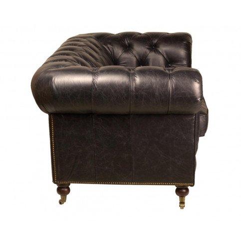 Canapé Noir en cuir 2 places Chesterfield Chicago | www.cosy-home-design.fr