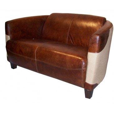 Canapé 2 places marron cuir Bedford  | www.cosy-home-design.fr