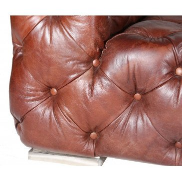 Canapé cuir marron 4 places chesterfield Le Pacha | www.cosy-home-design.fr