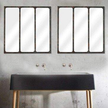 Miroir 3 Bandes Métal Rouillé 70X70Cm | www.cosy-home-design.fr