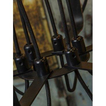 Chandelier fer noir câbles textile Boston  | www.cosy-home-design.fr