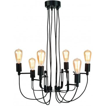 Chandelier fer noir câbles textile Boston  | www.cosy-home-design.fr