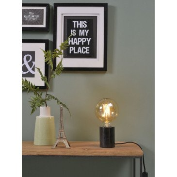 Lampe cylindrique marbre noir Olympe    www.cosy-home-design.fr
