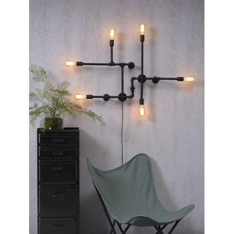 Applique fer noir câble textile Austin | www.cosy-home-design.fr