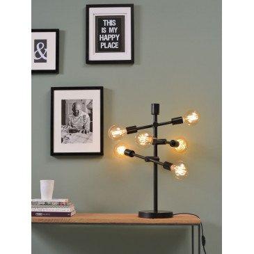 Lampe fer noire 6 ampoules Austin    www.cosy-home-design.fr